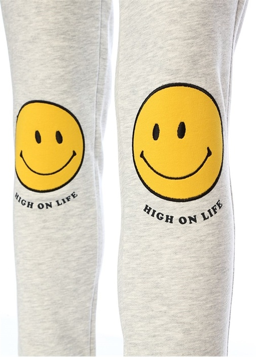 High On Life Relaxed Fit Gri Patchli Eşofman Altı