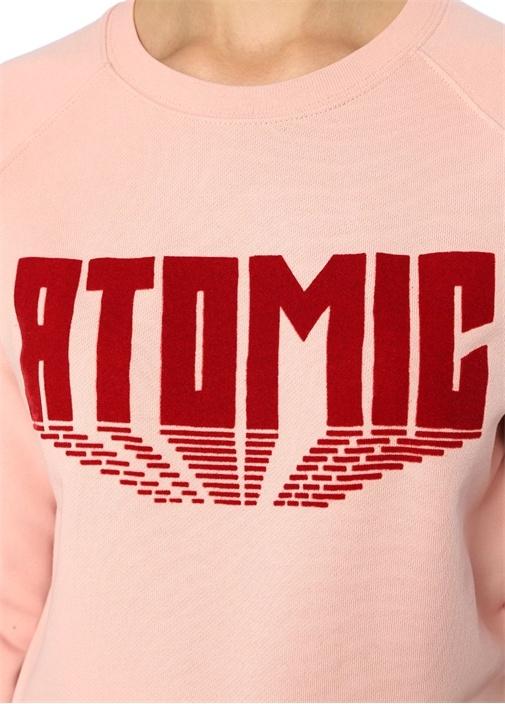 Atomic Pembe Baskılı Reglan Kol Sweatshirt