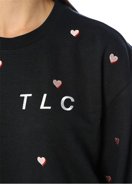 TLC Balloon Fit Siyah Kalp Nakışlı Sweatshirt
