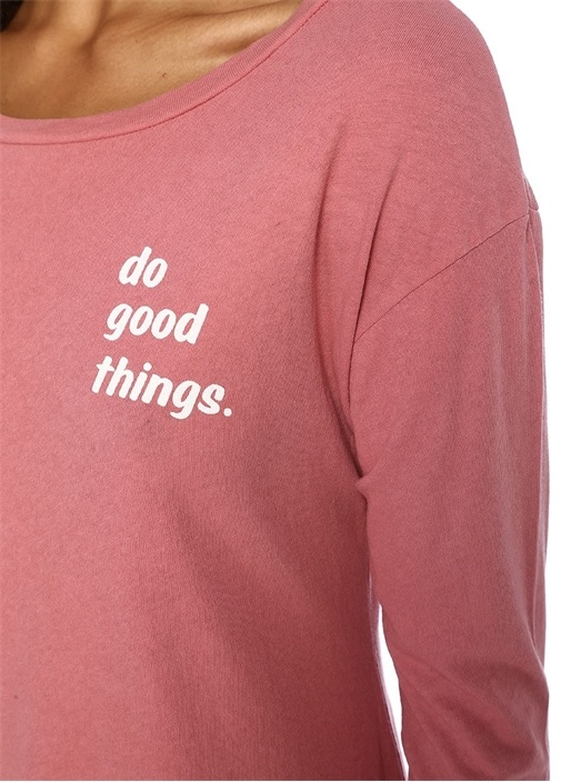 Do Good Things Pembe Kayık Yaka Sweatshirt