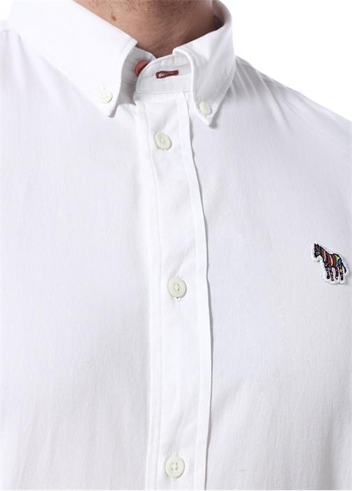 Tailored Fit Beyaz Düğmeli Yaka PatchliGömlek