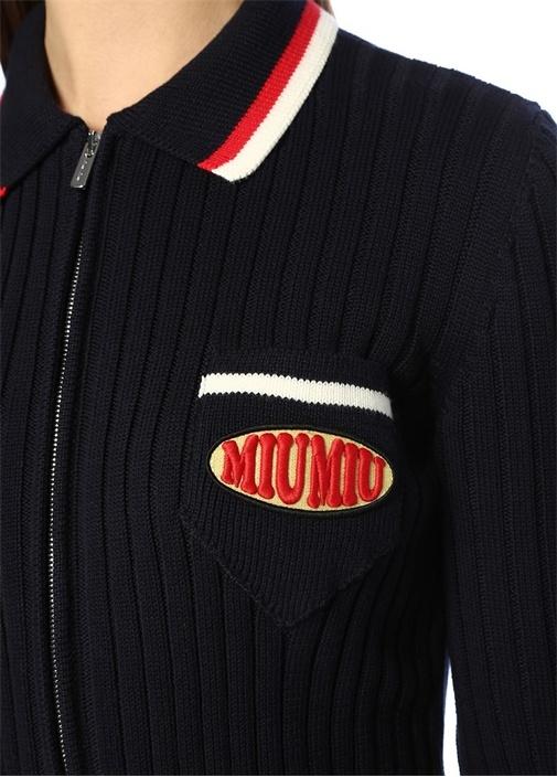 Lacivert Polo Yaka Şeritli Logolu Fermuarlı Hırka