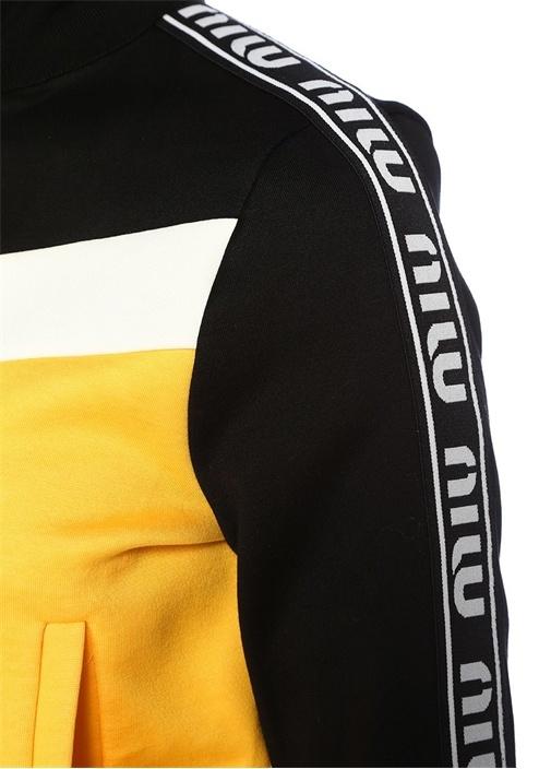 Siyah Sarı Dik Yaka Şeritli Fermuarlı Sweatshirt
