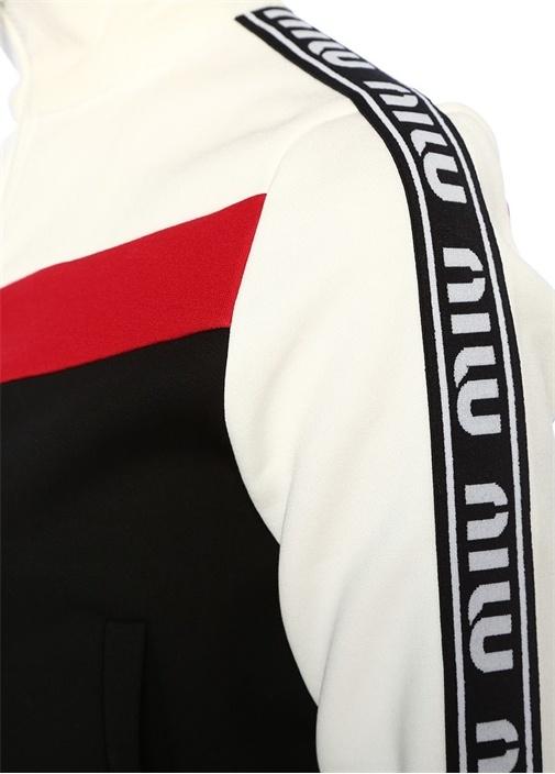 Siyah Beyaz Dik Yaka Şeritli Fermuarlı Sweatshirt