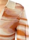 Hardal V Yaka Çizgili Transparan Uzun Kol Bluz