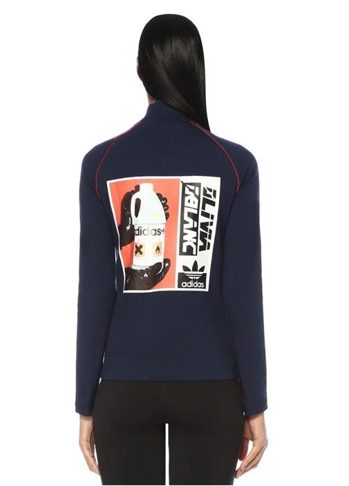 Lacivert Dik Yaka Şeritli Baskılı Uzun Kol T-shirt
