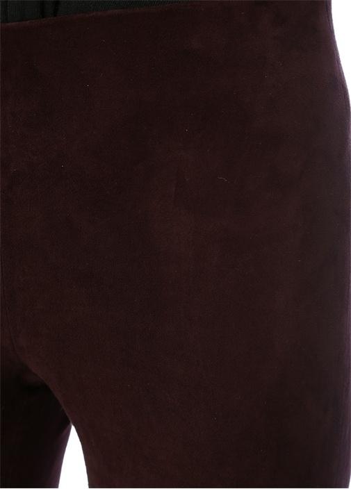 Bordo Yüksek Bel Yırtmaç Detaylı Süet Pantolon