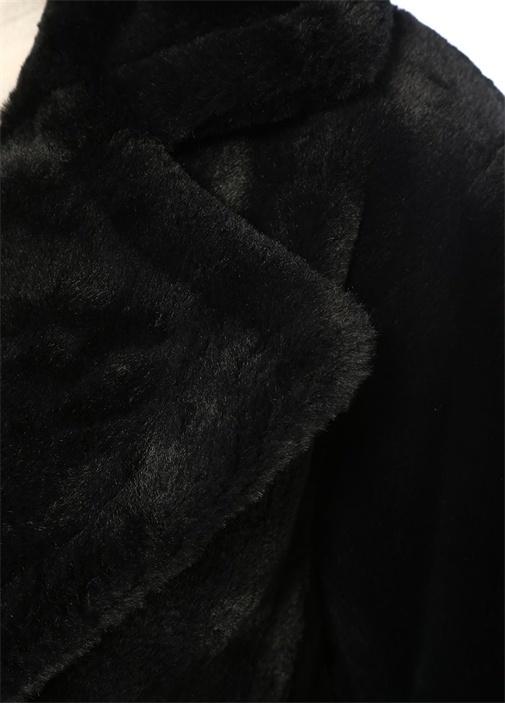Siyah Kelebek Yaka Suni Kürk Ceket