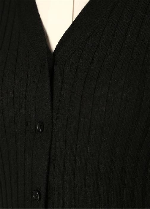 Siyah V Yaka Düğmeli Ribli Kaşmir Hırka