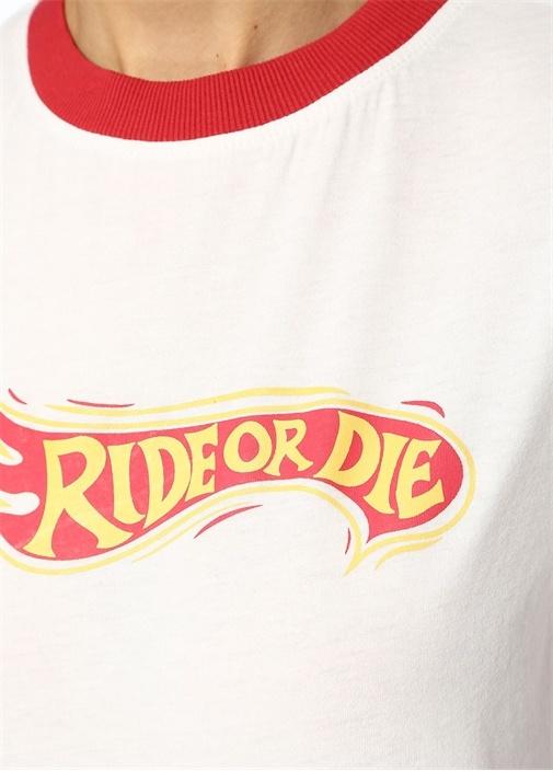 Ride Or Die Kırmızı Beyaz Baskılı T-shirt