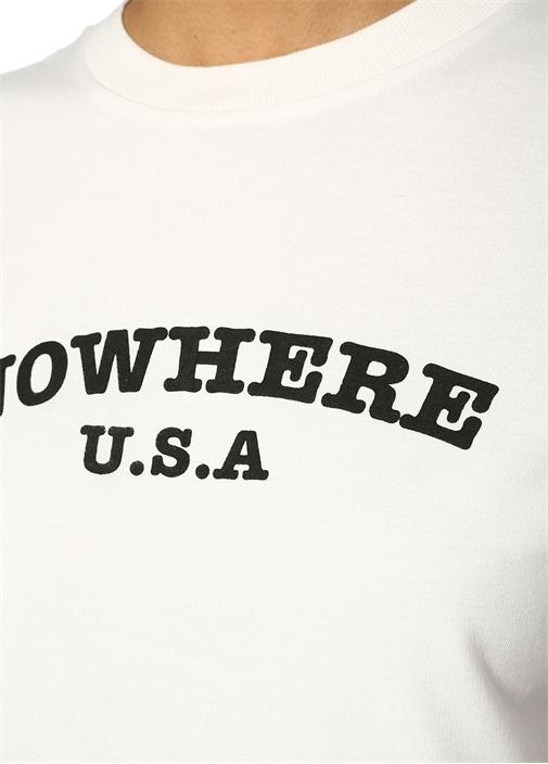 Nowhere Beyaz Renkli Şeritli Düşük Kol Sweatshirt