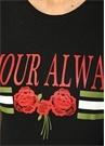 Amour Always Siyah Gül Baskılı T-shirt
