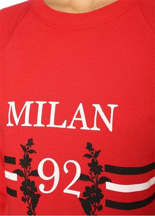 Milan Kırmızı Baskılı Reglan Kol Sweatshirt