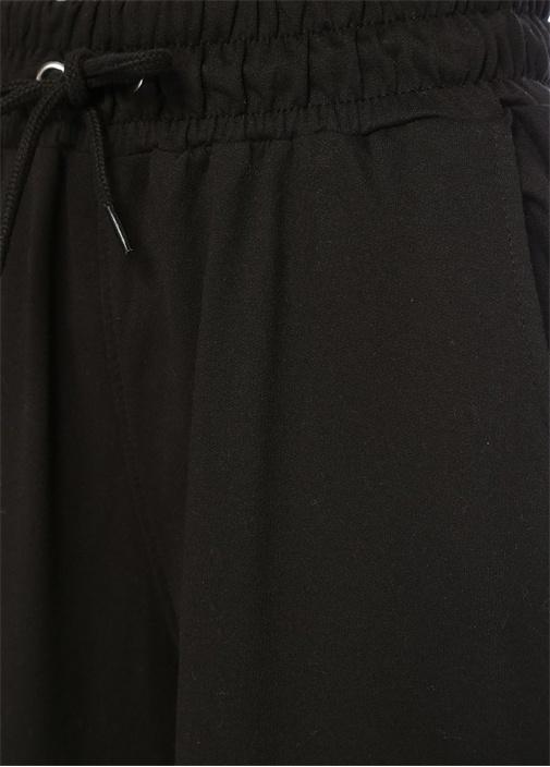 Siyah Beyaz Yüksek Bel Şeritli Bol CropPantolon