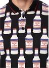 Siyah Polo Yaka Şişe Baskılı T-shirt