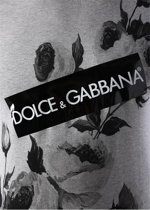 Gri Melanj Logolu Çiçek Baskılı Basic T-shirt