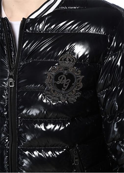 Siyah Logo Patchli Dik Yaka Puff Mont