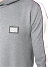 Gri Kapüşonlu Kolları Şerit Garnili Sweatshirt