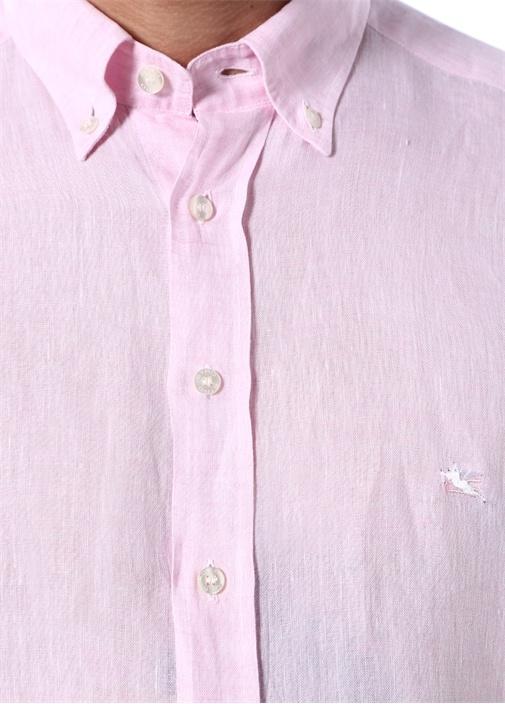 Pembe Düğmeli Yaka Keten Gömlek