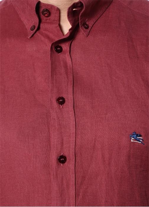 Bordo Düğmeli Yaka Keten Gömlek