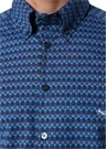 Mavi Mikro Desenli Düğmeli Yaka Gömlek