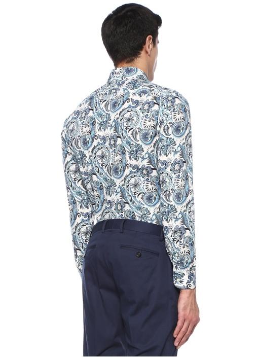 Mavi Düğmeli Yaka Çiçek Desenli Oxford Gömlek