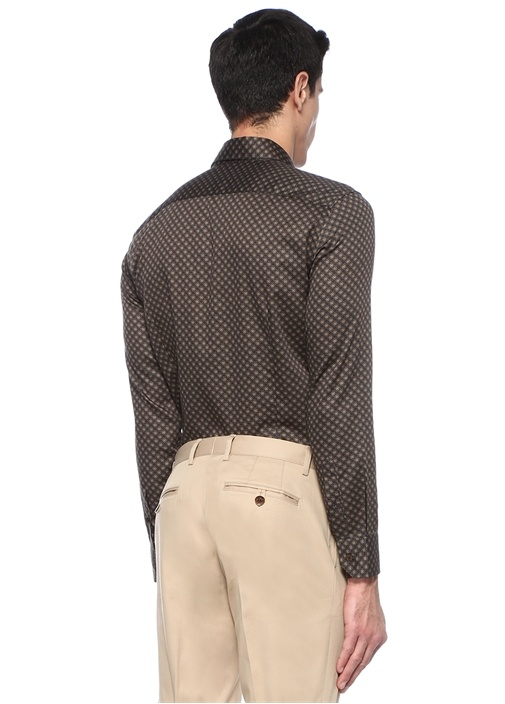 Kahverengi İngiliz Yaka Geometrik Desenli Gömlek