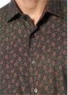 Haki İngiliz Yaka Geometrik Desenli Gömlek