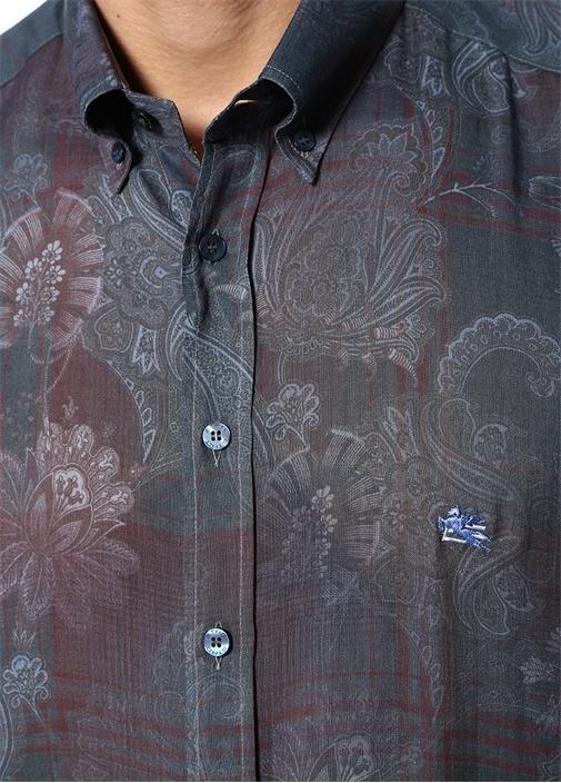 Lacivert Düğmeli Yaka Çiçek Desenli Oxford Gömlek