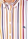 Turuncu Beyaz Düğmeli Yaka Çizgili Gömlek