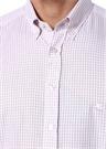 Pembe Beyaz Düğmeli Yaka Kareli Gömlek