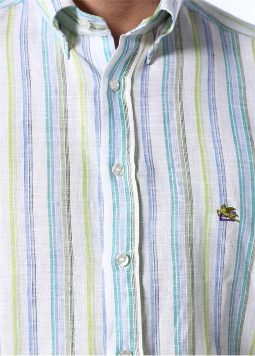 Yeşil Çizgili Düğmeli Yaka Keten Gömlek