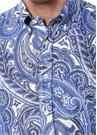 Mavi Beyaz Şal Desenli Düğmeli Yaka Keten Gömlek