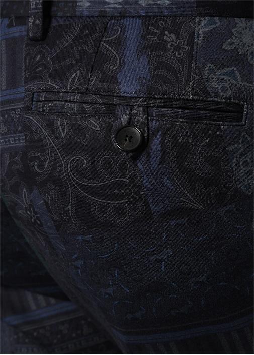 Lacivert Normal Bel Desenli Dar Paça Pantolon