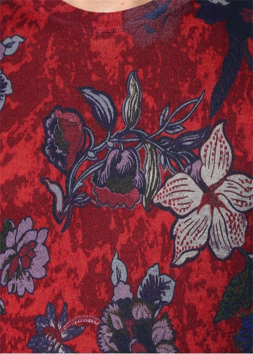 Kırmızı Çiçek Baskılı İpek Triko