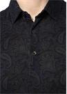 Siyah Polo Yaka Çiçek Desenli T-shirt