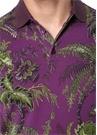 Mor Çiçek Baskılı Polo Yaka T-shirt