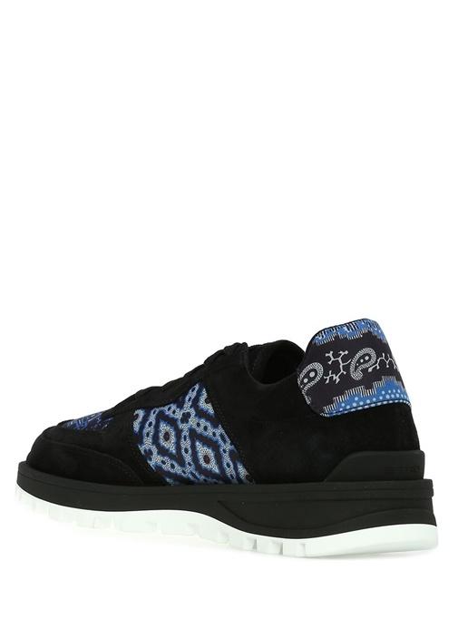 Siyah Etnik Desenli Erkek Deri Sneaker