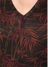 Kahverengi V Yaka Desenli Basic T-shirt