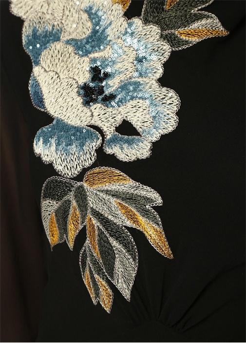 Siyah Çiçek İşlemeli Kuşaklı Maksi İpekElbise