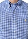 Slim Fit Lacivert Beyaz Kareli Düğmeli Yaka Gömlek