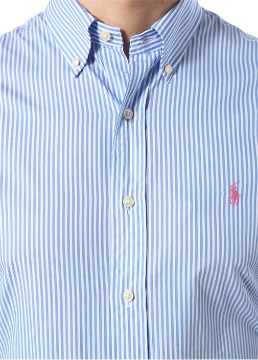 Slim Fit Mavi Beyaz Çizgili Düğmeli Yaka Gömlek