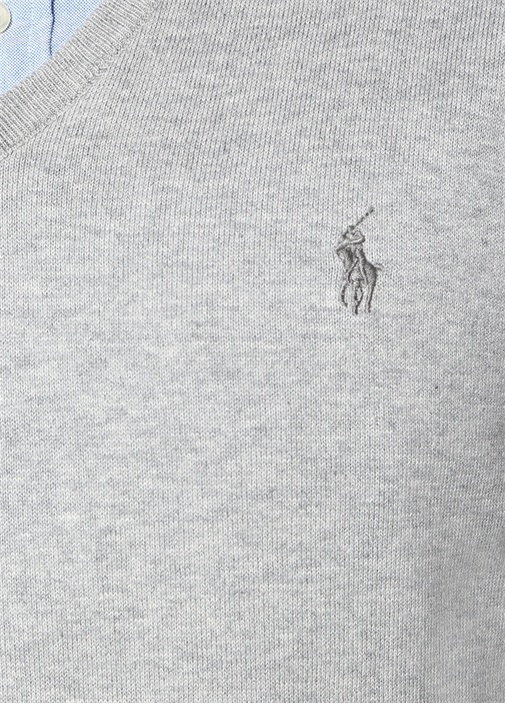 Slim Fit Gri Melanj Polo Yaka Logo Nakışlı Kazak