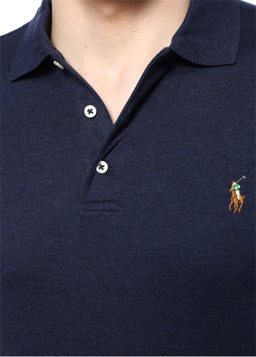 Lacivert Logo Nakışlı Polo Yaka T-shirt