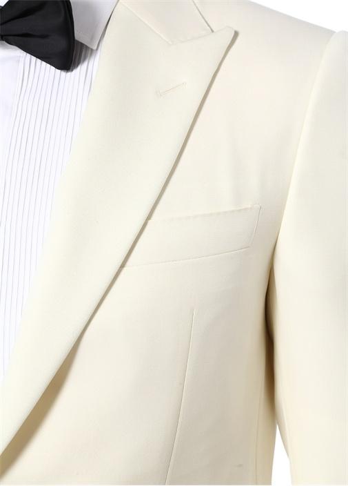 Drop 6 Ekru Kırlangıç Yaka Yün Ceket