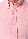 Modern Fit Pembe Düğmeli Yaka Keten Gömlek