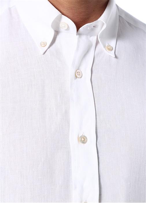 Modern Fit Beyaz Düğmeli Yaka Keten Gömlek