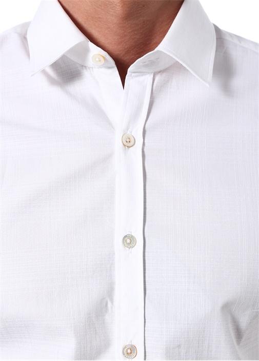 Modern Fit Beyaz İngiliz Yaka Kısa Kollu Gömlek