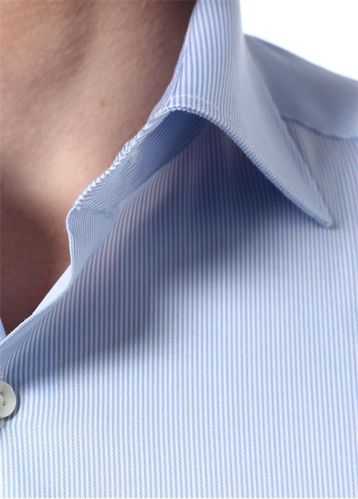 Slim Fit Mavi Beyaz İngiliz Yaka Çizgili Gömlek