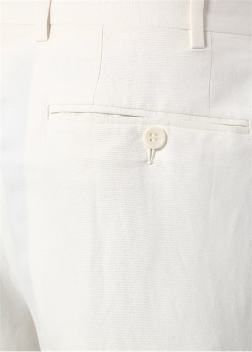 Drop 6 Beyaz Normal Bel Boru Paça KetenPantolon